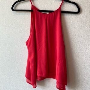 Hot Pink Lush Tank Top With Layered Flare Hem